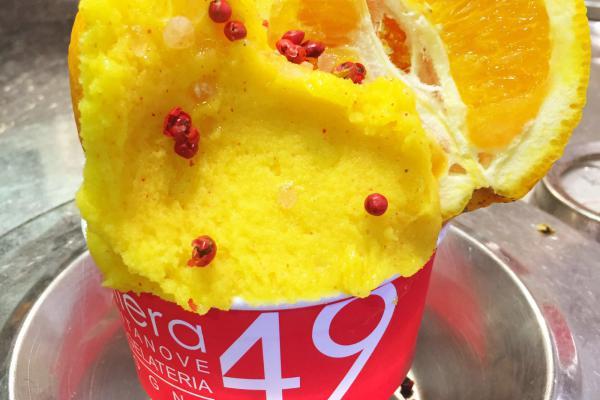 Sorbetto di Arancia e Pepe Rosa Galliera 49 bottega gelateria Bologna